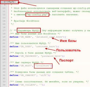 файла wp-config.php