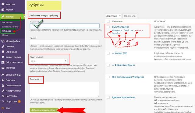рубрики WordPress