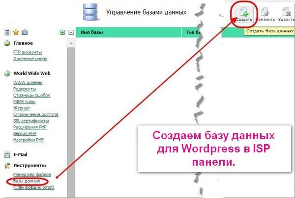 Создание базы данных для WordPress в панели ISP