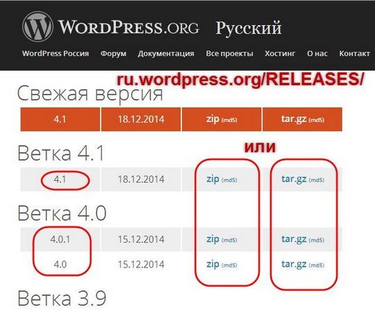 Установка WordPress на сервер хостинга