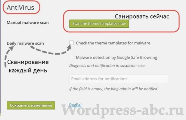 Найти и удалить вирус на WordPress плагином Antivirus