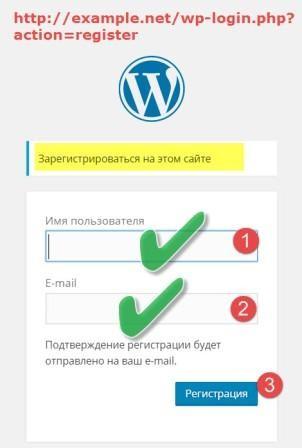 Форма регистрации WordPress