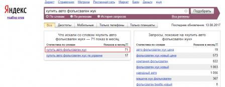 подбор слов Яндекс НЧ запрос