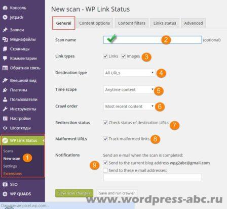 проверка ссылок WordPress, плагин WP Link Status, генеральная настройка