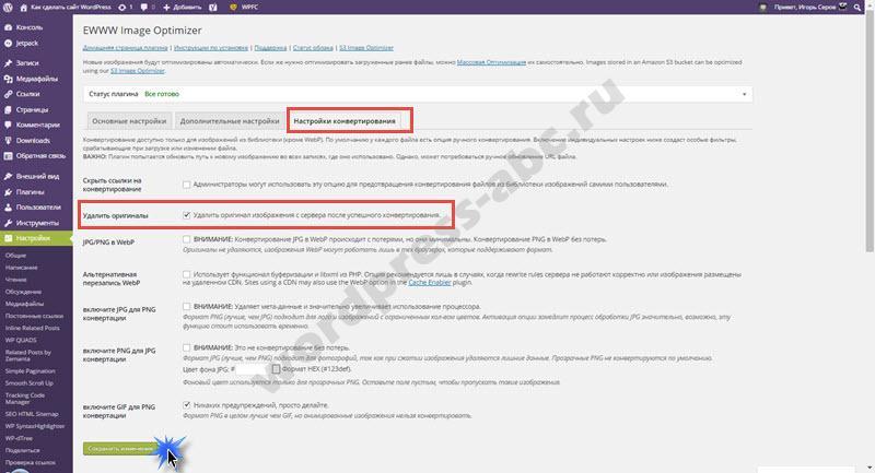 Настройки конвертирования плагина EWWW Image Optimizer