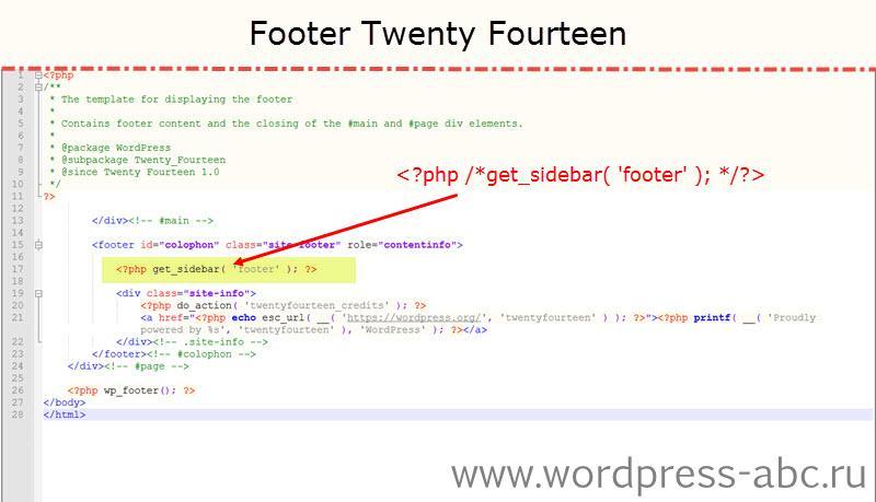 Как удалить виджеты в футере WordPress