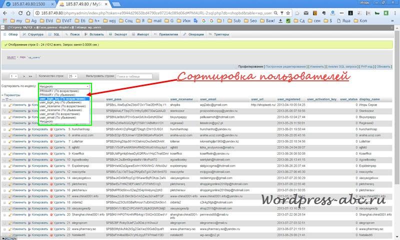 Сортировка пользователей WordPress в базе данных