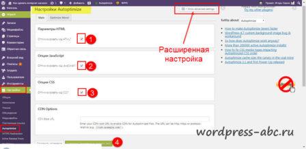 настройки плагина чтобы оптимизировать JS и CSS WordPress