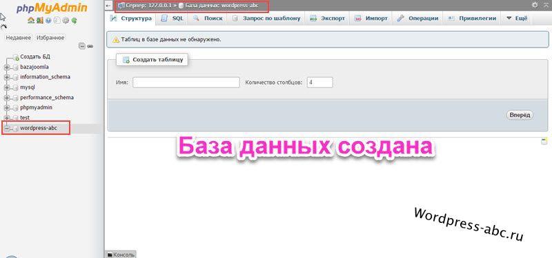 базf данных на XAMPP создана