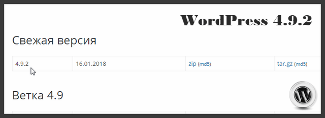 WordPress 4.9.2.