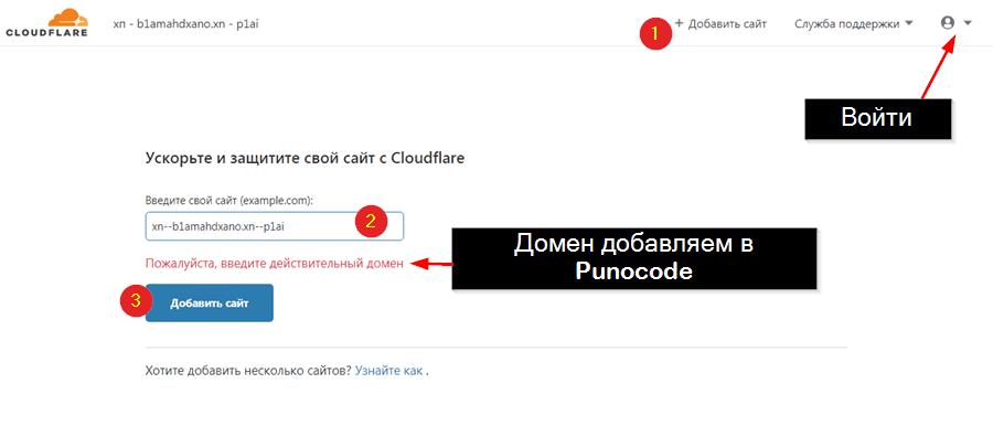 Имя домена вставляем в Punocode